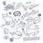 Animals doodle set — Stock Vector