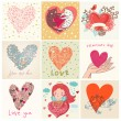 Stock Vector: Greeting cards with heart