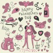 Vector valentine doodles set - Stok Vektr