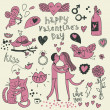 Vector valentine doodles set - Stockvectorbeeld