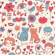 Cartoon romantic seamless pattern with kids, cats and birds — Stock Vector
