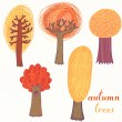 Autumn trees, vector set — Stock Vector