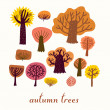 Autumn trees, cartoon vector set - 图库矢量图片