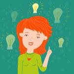 Idea in a head. This illustration in vector - in my portfolio. — Stock Vector