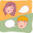 Guy and girl talking. This illustration in vector - in my portfolio. - Stock Vector
