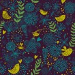 Bright floral cartoon seamless pattern in nice colors. Cute birds in flowers - Stock Vector