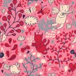 Romantic floral valentine pattern with angel cats and butterflies. Seamless tiling — ベクター素材ストック