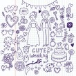 Doodle vector wedding set. Can be used for weddind invitation — Stock Vector #25014705
