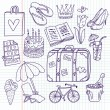 Doodle travel vector set — Stock vektor