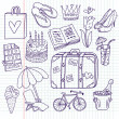 Doodle travel vector set — Vettoriale Stock #25014715
