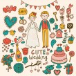 Vettoriale Stock : Wedding vector set. Cartoon illustration about marriage