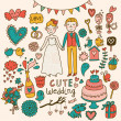 Wedding vector set. Cartoon illustration about marriage — Imagens vectoriais em stock