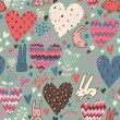 Cute love bunnies pattern with hearts — Stock Vector #25014763