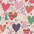 Cute love bunnies pattern with hearts — Stock Vector #25014765