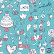 Sweet and tasty seamless pattern in cartoon style. Wedding invitation in blue color. Valentines day card. — Vector de stock