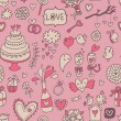 Sweet and tasty seamless pattern in cartoon style. Wedding invitation in pink color. Valentines day card. — Vector de stock