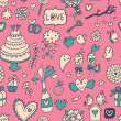 Sweet and tasty seamless pattern in cartoon style. Wedding invitation in pink color. Valentines day card. — Vettoriale Stock