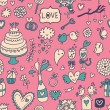 Sweet and tasty seamless pattern in cartoon style. Wedding invitation in pink color. Valentines day card. — Stok Vektör #25014771