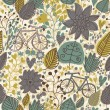 Stylized floral seamless pattern with bikes — Stock Vector