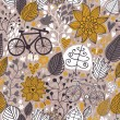 Royalty-Free Stock ベクターイメージ: Stylized floral seamless pattern with bikes
