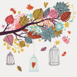 Romantic floral background with cartoon birds. Branch with autumn leaves — Vettoriali Stock