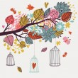 Romantic floral background with cartoon birds. Branch with autumn leaves — Imagen vectorial