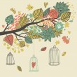 Romantic floral background with cartoon birds. Branch with autumn leaves - Stock Vector