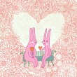 Romantic cartoon background with funny rabbits in love — Stock Vector