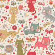 Funny cartoon seamless pattern. Cute cats and butterflies in flowers. Seamless pattern can be used for wallpaper, pattern fills, web page backgrounds, surface textures. — Stock Vector #25014941