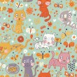 Funny cartoon seamless pattern. Cute cats and butterflies in flowers. Seamless pattern can be used for wallpaper, pattern fills, web page backgrounds, surface textures. — Stock Vector
