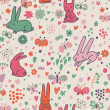 Cute rabbits and butterflies in vector. Nice childish background. Seamless pattern can be used for wallpapers, pattern fills, web page backgrounds, surface textures. — Stock Vector