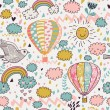 Cartoon seamless pattern with nasty weather in children style. Vector background for kids in pastel colors — Imagens vectoriais em stock