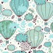 Sky concept seamless pattern with clouds, balloons and birds. Seamless pattern can be used for wallpapers, pattern fills, web page backgrounds, surface textures. — Stock Vector