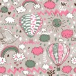 Cartoon seamless pattern with nasty weather in children style. Vector background for kids in pastel colors — Stockvektor