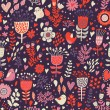 Red colored seamless pattern with cute birds and flowers. Seamless pattern can be used for wallpapers, pattern fills, web page backgrounds, surface textures. - Stock Vector