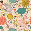 Bright summer seamless pattern with birds, flowers and clouds. Seamless pattern can be used for wallpapers, pattern fills, web page backgrounds, surface textures. — Stock Vector