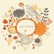 Nice background in autumn colors with vintage birds. Vector frame with place for text. Valentine's day card — Stock Vector