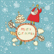 Merry Christmas. Cartoon vector card - Stock Vector