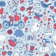 Romantic seamless pattern in stylish colors. Ideal pattern for wedding design. Seamless pattern can be used for wallpapers, pattern fills, web page backgrounds, surface textures. — Stockvektor