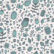 Flowers, bugs and butterflies. Cartoon seamless pattern for modern wallpapers — Imagen vectorial