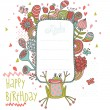 Happy birthday. Cartoon background with flowers, splashes, butterflies and funny frog - Stock Vector