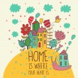 Royalty-Free Stock Vector Image: Home  is where you heart is. Cartoon illustration in vector