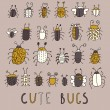 Cute bugs  vector set in retro style — Imagen vectorial
