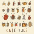 Cute bugs vector set in retro style — Stock Vector