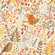 Realistic birds in flowers. Seamless pattern for cute nature wallpapers in vector - Stock Vector