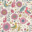 Stock Vector: Pigeons in vintage flowers. Classical seamless pattern in vector