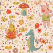 Funny cartoon animals in vector. Cute seamless pattern for children&#039;s wallpapers in pink colors - Stock Vector