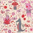 Funny cartoon animals in vector. Cute seamless pattern for children's wallpapers in pink colors — Stockvectorbeeld