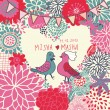 Bright vector wedding invitation. Romantic floral background. Pigeons on flowers in cartoon illustration — Stock Vector