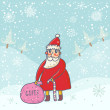 Cute Santa with presents in winter forest. New year cartoon background — Stockvectorbeeld